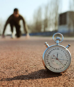 runner with stopwatch